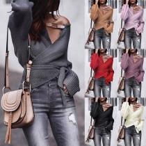 Sexy Sweater met V-hals Onregelmatige Zoom Lange Mouwen Effen Kleur en Tailleband