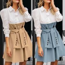 Modern Hemdjurk met Contrasterende Kleuren Lange Mouwen Polokraag en Tailleband
