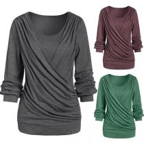 Modern Geplooid Sweatshirt met Effen Kleur Lange Mouwen en Ronde Hals