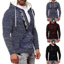 Moderne Gebreide Hoodie voor Heren met Gemengde Kleuren Lange Mouwen en Capuchon