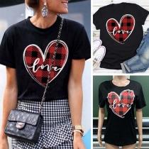 Modern Geruit T-shirt met Korte Mouwen en Hartmotief