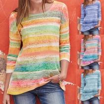 Modern Kleurrijk Gestreept Sweatshirt met 3/4 Mouwen