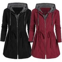 Modern jas met Contrasterende Kleuren Lange Mouwen en Capuchon