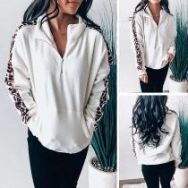 Moderne Sweater met Lange Mouwen met Luipaardpatroon en Opstaande Kraag