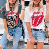 Chic Bedrukt T-shirt met Rood Lippenmotief Korte Mouwen en Ronde Hals