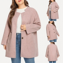 Moderne Plus Size Pluchen Jas met Effen Kleur Lange Mouwen en Opstaande Kraag