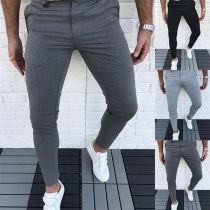 Simple Style Solid Color Middle-waist Man's Pants