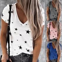 Modern T-shirt met V-hals Sterrenpatroon met Korte Mouwen