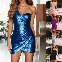 Sexy One-shoulder Irregular Hem Sleeveless Party Dress