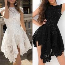 Fashion Short Sleeve Boat Neck Irregular Hem Lace Dress
