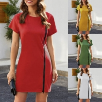 Fashion Solid Color Short Sleeve Round Neck Side-zipper Dress