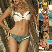 Sexy Push-up Bikiniset met Contrasterende Kleuren