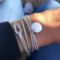 Modern Zilveren Gedraaid Armbandset met Kralen 3 Stuks/Set