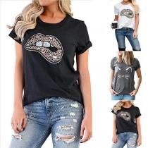 Chic Bedrukt T-shirt met Lippenmotief met Luipaardpatroon en Korte Mouwen