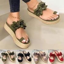 Leuke Sandalen met 3D-Bloemen en Dikke Zolen