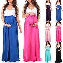 Modern Mouwloos Zwangerschapsjurk met Contrasterende Kleuren en Ronde Hals