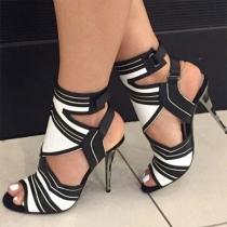 Sexy Schoenen met Contrasterende Kleuren Hoge Hakken en Open Neuzen