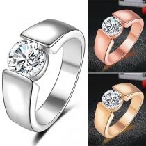 Eenvoudige Ring voor Heren met Ingelegd Strass