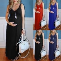 Sexy Zwangerschapsjurk met V-hals Effen Kleur Hoge Taille en Dragers