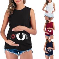 Leuk Mouwloos Topje voor tijdens de Zwangerschap met Voetafdrukmotief