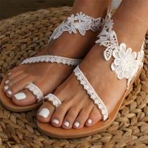 Moderne Sandalen met Platte Hakken en Kanten Bloemen