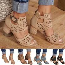 Modern Schoenen met Dikke Hakken en Open Neuzen