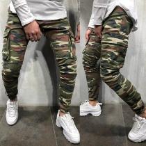 Moderne Casual Broek voor Heren met Camouflagepatroon en Zijzakken
