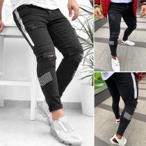 Moderne Gescheurde Jeans voor Heren met Contrasterende Kleuren