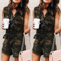 Fashion Sleeveless POLO Collar Camouflage Printed Romper