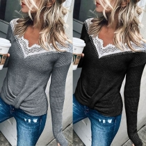 Sexy Lace Spliced V-neck Long Sleeve Twisted Hem Knit Top