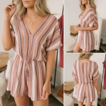 Fashion Short Sleeve V-neck Striped Romper