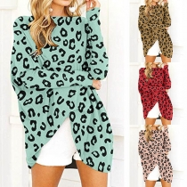 Fashion Leopard Printed Long Sleeve Round Neck Loose Dress