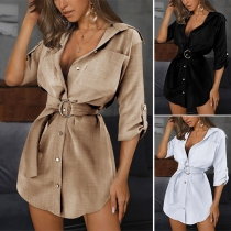 OL Style Long Sleeve POLO Collar Solid Color Shirt Dress