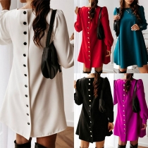 Fashion Solid Color Long Sleeve Back-button A-line Dress