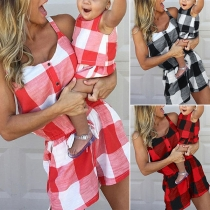 Fashion High Waist Parent-child Plaid Romper