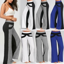 Fashion Contrast Color High Waist Wide-leg Pants