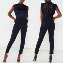 Sexy Lace Spliced Sleeveless High Waist Slim Fit Jumpsuit