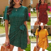Fashion Short Sleeve Round Neck Dots Printed Lace-up Dress