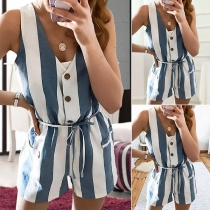 Fashion Sleeveless V-neck High Waist Striped Romper