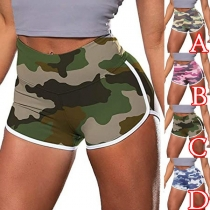 Fashion High Waist Camouflage Printed Sports Shorts
