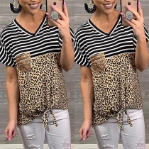 Fashion Leopard Spliced Short Sleeve V-neck Striped T-shirt