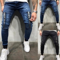 Modern Jeans voor Heren met Middelhoge Taille en Ritsslutingen