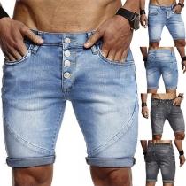 Moderne Knielange Denimshorts voor Heren met met Middelhoge Taille