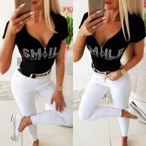 Modern Bedrukt T-shirt met Letters Strass V-hals en Korte Mouwen