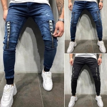 Moderne Jeans voor Heren met Middelhoge Taille en Ritssluitingen