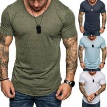 Eenvoudig T-shirt voor Heren met Korte Mouwen en V-hals