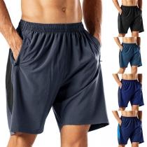 Modieuze Knielange Shorts voor Heren met Effen Kleur en Elastische Taille