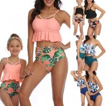 Sexy Bikiniset voor Moeder en Dochter met Hoge Taille Ruches aan de Zoom en Chic Patroon