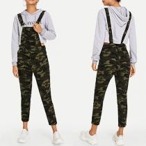 Moderne Tuinbroek met Hoge Taille en Camouflagepatroon