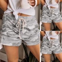 Moderne Shorts met Taille met Trekkoord en Camouflagepatroon